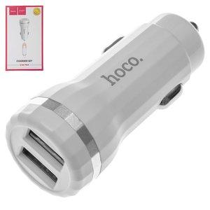 Автомобільний зарядний пристрій Hoco Z27, 2 USB виходи 5В 2,4А , біле, з USB кабелем тип C